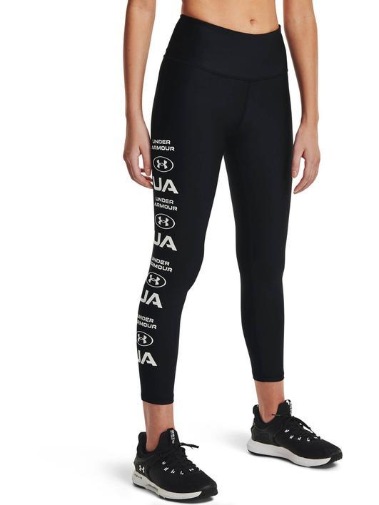 Siyah Kadın HeatGear® Armour No-Slip Waistband Graphic Ankle Tayt
