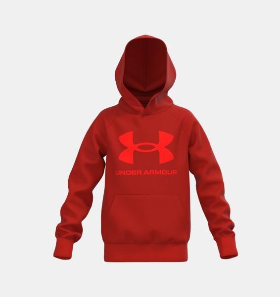 Turuncu Erkek Çocuk UA Rival Fleece Big Logo Kapüşonlu Üst