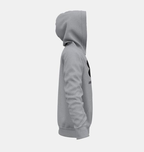 Gri Erkek Çocuk UA Rival Fleece Big Logo Kapüşonlu Üst