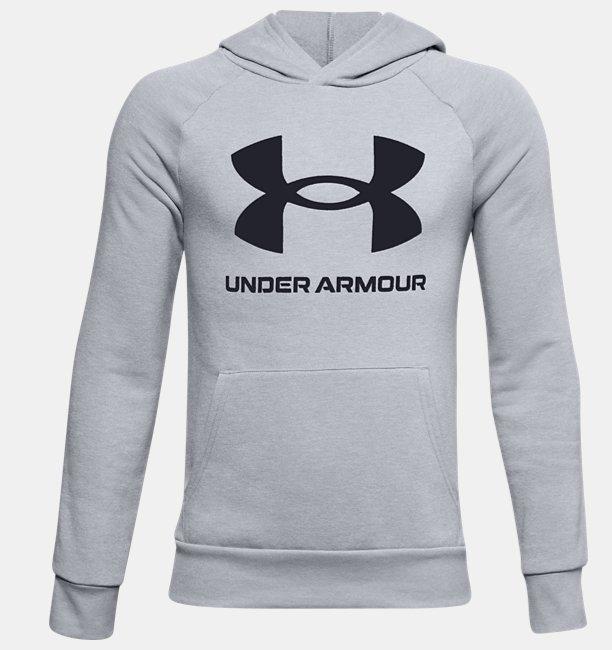 Erkek Çocuk UA Rival Fleece Big Logo Kapüşonlu Üst Gri