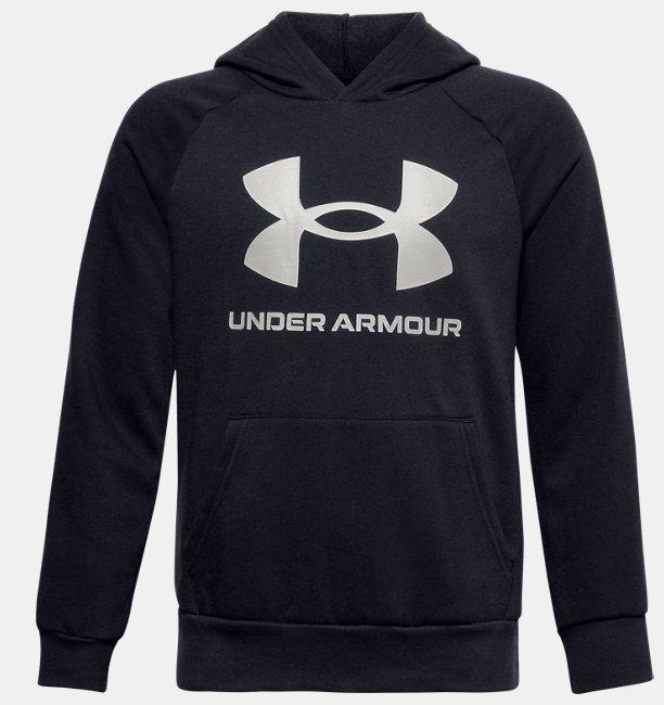 Erkek Çocuk UA Rival Fleece Big Logo Kapüşonlu Üst Siyah