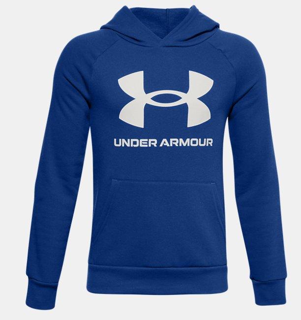 Erkek Çocuk UA Rival Fleece Big Logo Kapüşonlu Üst Mavi