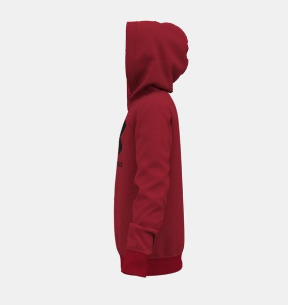 Kırmızı Erkek Çocuk UA Rival Fleece Big Logo Kapüşonlu Üst