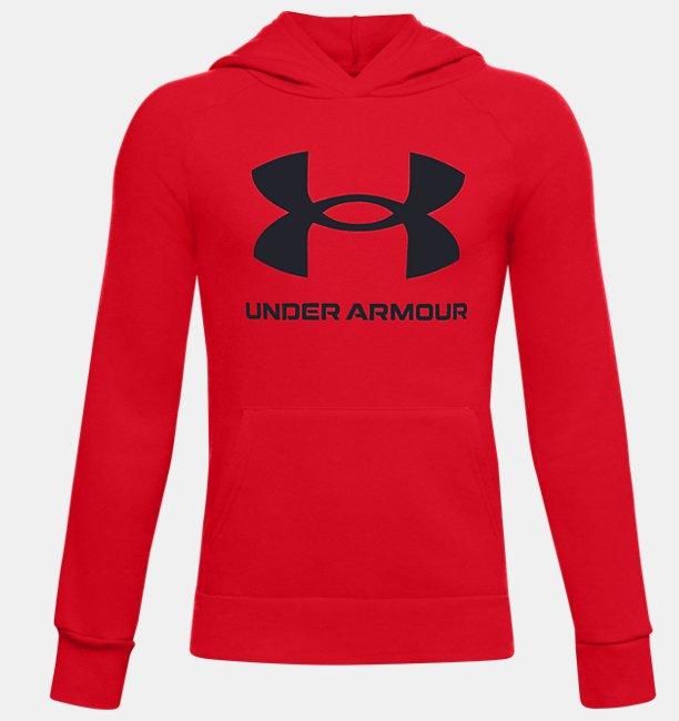 Erkek Çocuk UA Rival Fleece Big Logo Kapüşonlu Üst Kırmızı