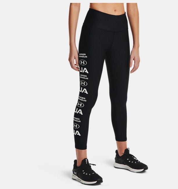 Kadın HeatGear® Armour No-Slip Waistband Graphic Ankle Tayt Siyah