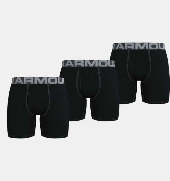 """Siyah Erkek Charged Cotton® 6"""" Boxerjock® – 3'lü Paket"""