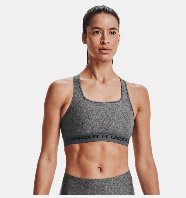 Kadın Armour® Mid Crossback Heather Spor Sütyeni Gri