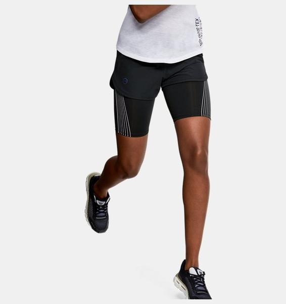 Siyah Kadın UA RUSH™ 2'si 1 arada Koşu Şortu