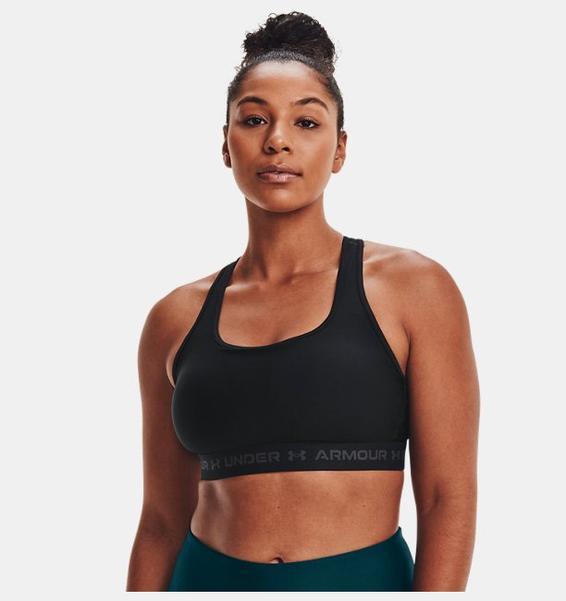 Siyah Kadın Armour® Mid Çapraz Sırtlı Spor Sütyeni