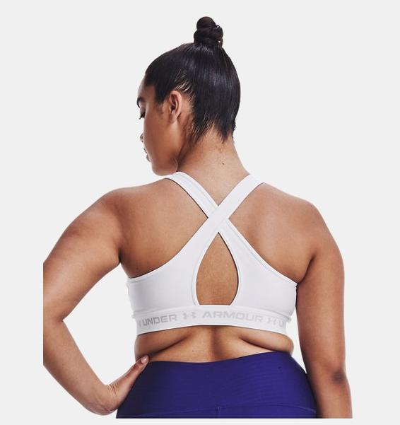Beyaz Kadın Armour® Mid Çapraz Sırtlı Spor Sütyeni