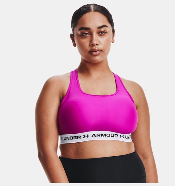 Pembe Kadın Armour® Mid Çapraz Sırtlı Spor Sütyeni