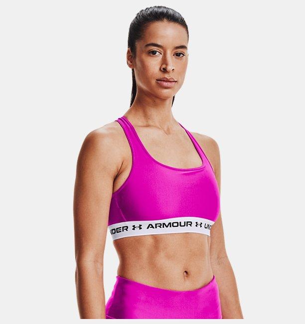 Kadın Armour® Mid Çapraz Sırtlı Spor Sütyeni Pembe