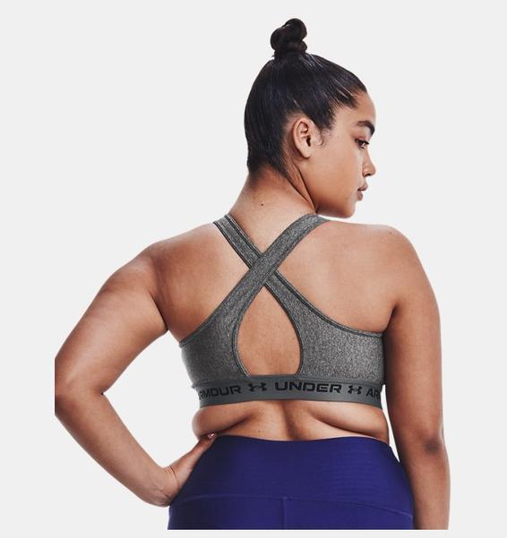 Gri Kadın Armour® Mid Crossback Heather Spor Sütyeni